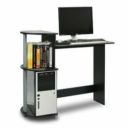 FURINNO Compact Computer Desk with Shelves, Round Side, Blac