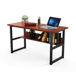 Computer Desk with Bookself Office Desk Workstation 2 in 1 D