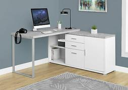 "Monarch Specialties Computer Desk - 60"" L White/Cement-Look"