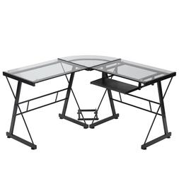 Computer Desk L Shaped Desk Glass Office Writing Furniture W