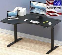 Computer Desk L Shaped Home Office Work Table  Black 55 Inch