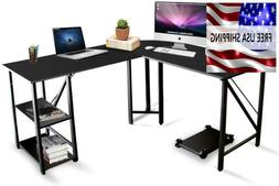 """Computer Desk L Shaped Home Office Work Table  Black 59""""X55"""""""
