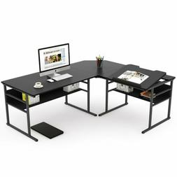 Tribesigns 67 inch L Shaped Desk with Bookshelf Double Corne