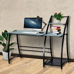 Computer Desk PC Laptop Table Glass Top Writing Study Workst