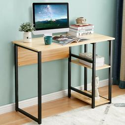 Computer Desk PC Laptop Table With 2 Tier Shelves Home Offic