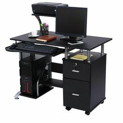 Computer Furniture w/ Printer Shelf Desk PC Laptop Table Wor