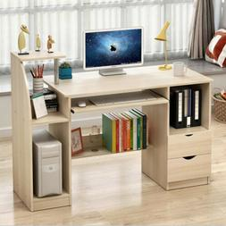 Computer Desk & Cabinet & 2 Drawers & Bookcase for Home Offi