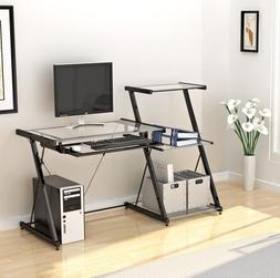 Computer Desk Small Office Desk Work Table with Keyboard Tra