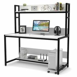 "47/55"" Office Computer Desk with Hutch Bookshelf Laptop Stud"