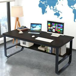 Computer Desk with Bookshelf 47/55in Modern Style Writing Ta