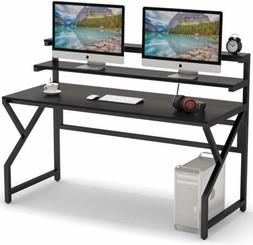 Computer Desk with Monitor Stand, 55 Inch Large Modern Offic