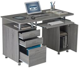 Computer Desk with Storage Cabinet, Drawers, Pullout Keyboar