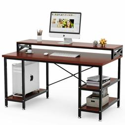 Modern Office Desk Computer Table with Hutch& Shelves 55/63""