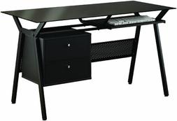 Computer Desk with Black Glass Top in Black Powder Coated Me
