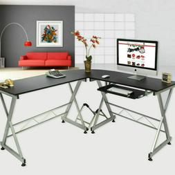 Computer Game Desk Wood Steel L-Shape Corner PC Laptop Table