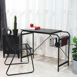 Computer Writing Desk with Metal Storage Basket Industrial M