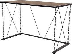 Contemporary Antique Wood Grain Finish Computer Desk w/Chain