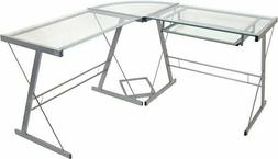 Walker Edison 3-Piece Contemporary Glass and Steel Desk, Sil