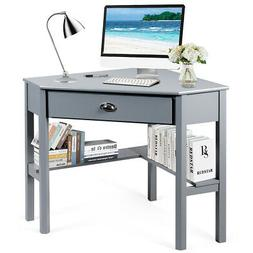 Topbuy Corner Computer Desk Table Wood Workstation Gray