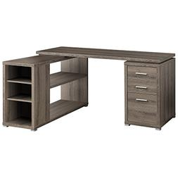 Corner L-Shaped 3 Drawer Writing Desk, Dark Taupe