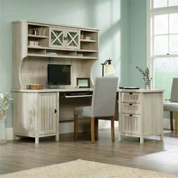 Sauder Costa L Shaped Computer Desk with Hutch in Chalked Ch