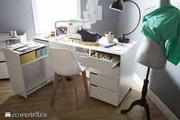 South Shore Crea Sewing Craft Table on Wheels in Pure White