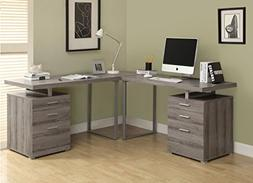 Monarch Specialties DARK TAUPE RECLAIMED-LOOK L SHAPED DESK