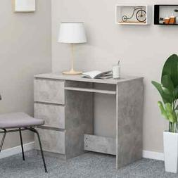vidaXL Desk Concrete Gray Chipboard Computer Office Corner T