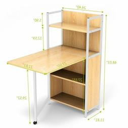 Desk Wood Fold Out Cabinet Laptop Computer Desk with 4 Multi