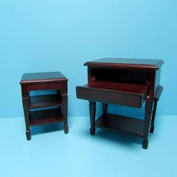 Dollhouse Miniature Computer Desk with Printer Stand in Maho