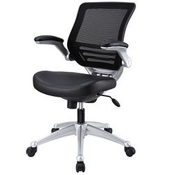 Modway Edge Mesh Back and Leather Seat Office Chair In Black