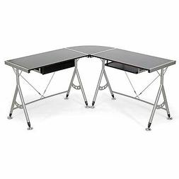 Baxton Studio Elburn L-Shaped Modern Computer Desk, Dark Bro