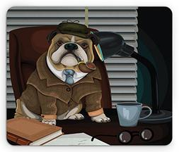Ambesonne English Bulldog Mouse Pad, Traditional English Det