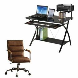 Erma 2 Piece Computer Desk and Rustic Leather Swivel Office