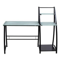 Erommy Glass Top Writing Study Computer Desk with Shelves
