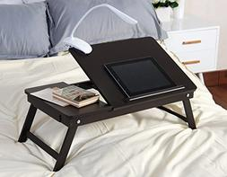 Espresso Wooden Lap Desk, Flip Top with Drawer, Foldable Leg