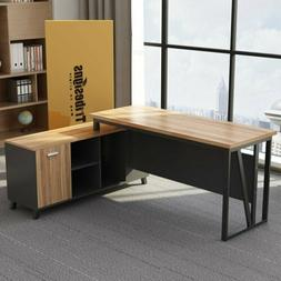 Executive L-Shaped Computer Desk Workstation with Storage &F