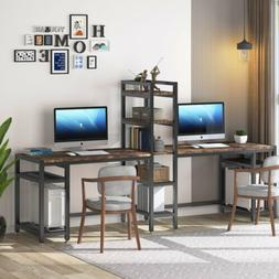 Extra Long Computer Desk for 2 Person Double Office Table w/