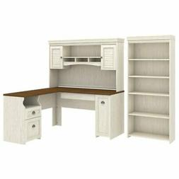 Bush Furniture Fairview L Shaped Desk with Hutch and 5 Shelf
