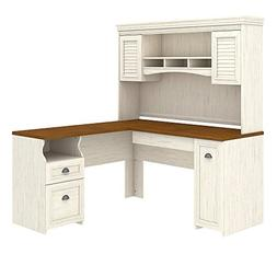 Bush Furniture Fairview L Shaped Desk with Hutch in Antique