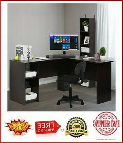 FCH Wooden L-Shaped Computer Desk Home Office Laptop PC Tabl