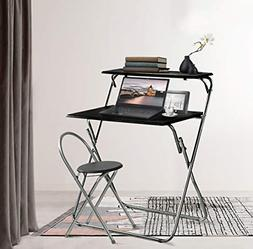 "Aingoo Folding Computer Desk Chair Set 30"" Small Writing Tab"