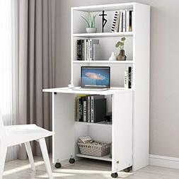 Tribesigns Folding Computer Desk with 5-Tier Bookshelf, Comp