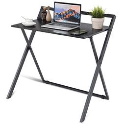 Tangkula Folding Table Simple Metal Frame Computer Desk Mode