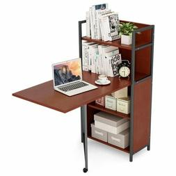 Tribesigns Folding Computer Desk with Bookshelves, PC Laptop