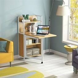 Folding Computer Desk with Storage Shelves for Small Space W