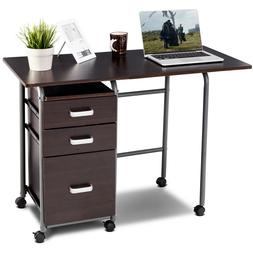 Folding Computer Laptop Desk Wheeled Home Office Furniture w