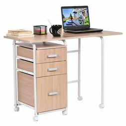 Folding Computer Laptop Desk Wheeled With 3 Drawers Home Off