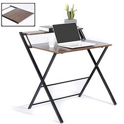 GreenForest Folding Computer Office Desk/Table with Shelf, F