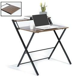 GreenForest Folding Desk for Small Space, 2 Tiers Computer D